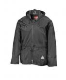 Zwarte waterdichte jas en broek voor volwassenen